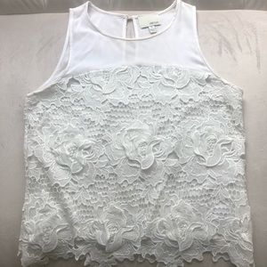 Anthropologie Greylin White Floral Lace Top